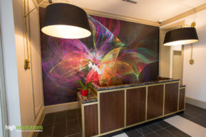 Wall mural behind reception desk